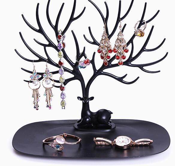 3 цвета олень лоток Дисплей подставка для ювелирные серьги Bbracelet Цепочки и ожерелья рог оленя дерево хранения организовать Демонстрационны...