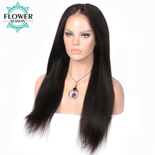 FlowerSeason Yaki Straight Pre Plucked Hairline Brazilian Lace Front Human Hair Wigs Natural Color 14-24 Inches Non-Remy Hair