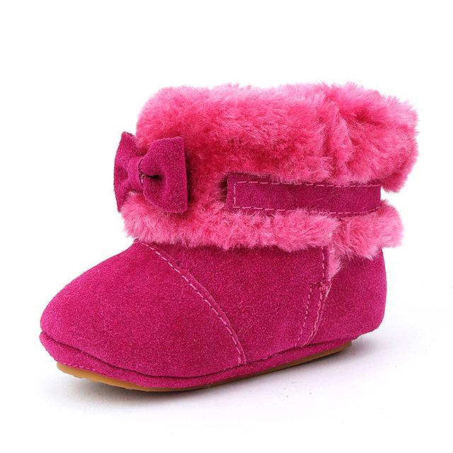 0-3 Años de Edad de la Venta Caliente 2016 Nueva Moda de Invierno de Cuero arco lindo bota de la nieve niño bebé caliente shoes niña niño botas 3 colores bs-k11
