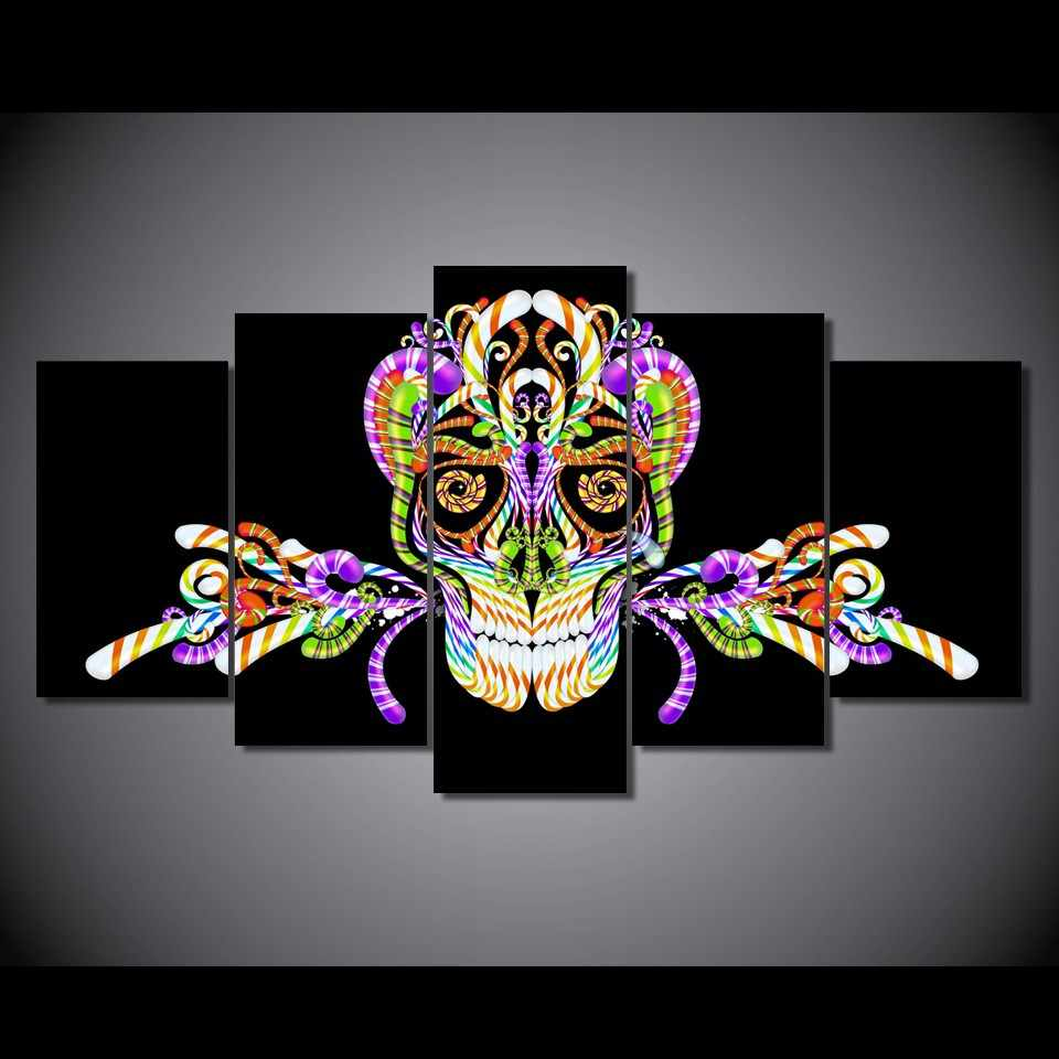 Latest Wall Decor 5 Panel Modern Abstract skull series Wall Art Home Decoration Painting Canvas Prints Pictures/11Y-ZT-70