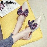 Bailehou Women Slippers Low Heel Mules Summer Shoes Female Fashion Butterfly knot Women Shoes Slip On Slides Ladies Half Slipper