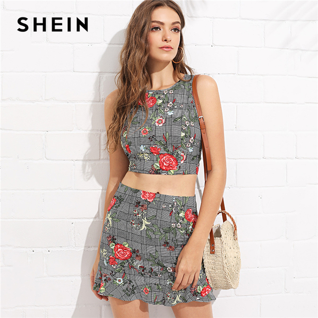 f8aa4d07d8 SHEIN Multicolor Vacation Bohemian Beach Backless Crisscross Back Mixed  Print Top And Skirt Set Summer Women Casual Twopieces