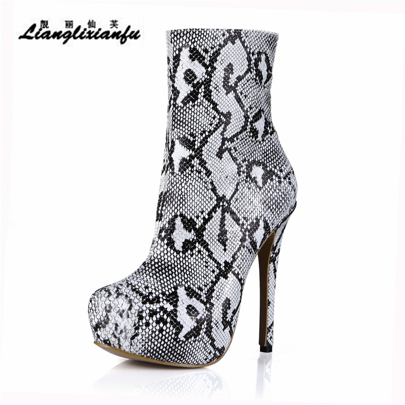 LLXF Spring Autumn Snake Print shoes woman Ankle Martin Boots 14cm Thin Heels botas mujer Platforms