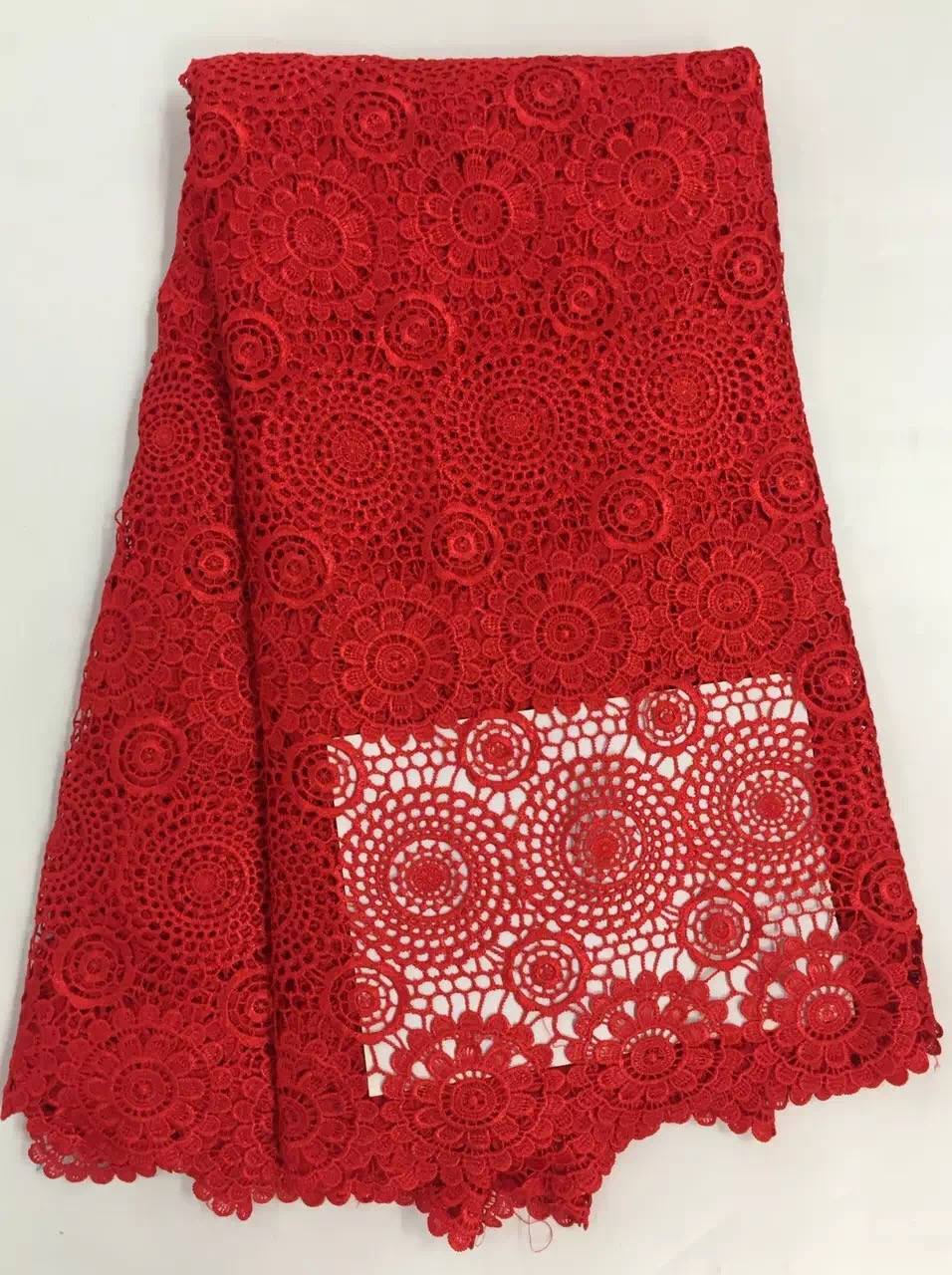 CW2023 Cordón de cordón de guipur nigeriano de poliéster africano - Artes, artesanía y costura - foto 1