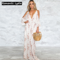 Women Boho Summer Bohemian Dresses 2018 Floral Print Sexy Off Shoulder Cami Backless V Neck Loose White Long Beach Dress