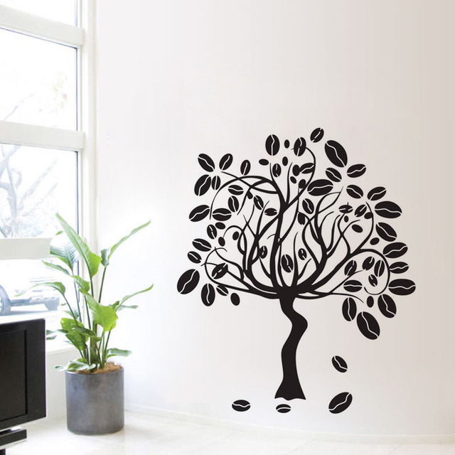 EHOME Coffee Tree Wall Stickers Design Vinyl Art Decals Coffee Cafe Bar Wall  Murals Home Decor