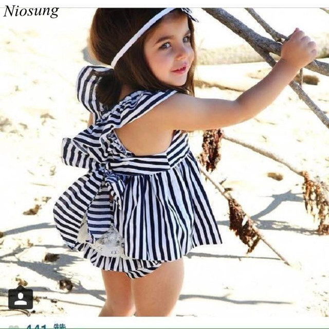 235ddf858eb02 New 1Set Baby Girls Clothes Summer Sunsuit Infant Outfit Stripe Sleeveless Backless  Dress Brief