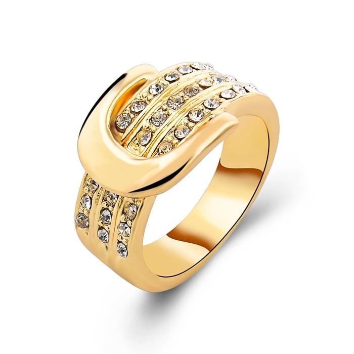 Free Shipping Gold Plated Ring Fashion Strap Ring Women & Men Gift ...