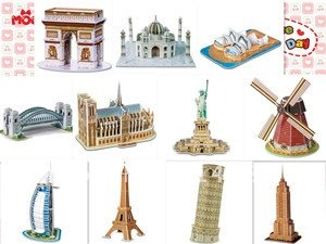 FREESHIPPING WORLDS FAMOUS BUILDINGS HOUSES 3D EPS DIY Puzzle Modle Toys COLOURFUL Paper Mold Crafts Kids