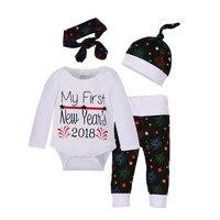 Pasgeboren meisje jongen kerst kostuum pak cartoon leuke warm houden kind jas jurk + broek + hoed hoofdband pak
