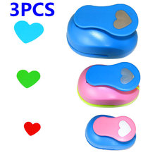 3 piezas (5cm 3,8 cm 2,5 cm) juego de perforaciones artesanales con forma de corazón, manual para niños, perforaciones para agujeros, perforadoras para papel de álbum de recortes