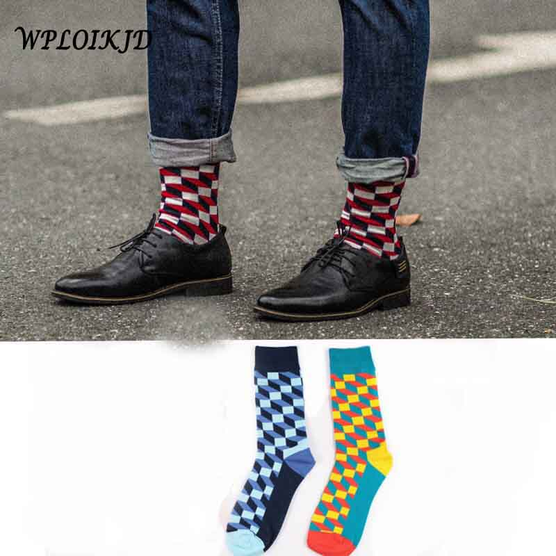 High quality Fashion Cotton Socks Colorful Happy Skateboard Business Socks Men In Tube Suck Stretch Unisex
