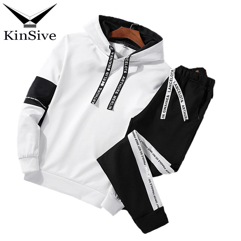 2018 Brand Tracksuit Men Set Spring Men Sportswear Two Piece Sporting Suit Hooded Sweatshirt + Pants Sweatsuit For Men Clothing