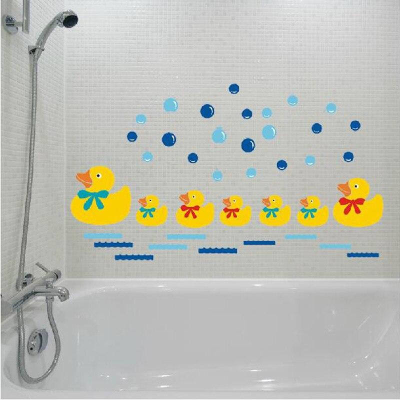 Hot Sale Little Yellow Duck Swimming Wall Stickers Kids Cartoon Wall Decor Paper Bathroom Wallpaper Top