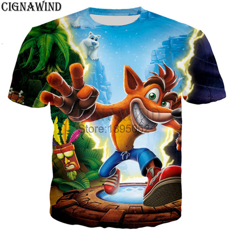 Crash Bandicoot Christmas.New Harajuku Cartoon Christmas T Shirt Men Women Game Crash