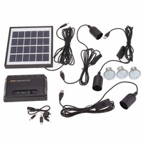Hot Sell Black Outdoor Solar Power Panel LED Light Lamp USB Charger Home System Kit Garden