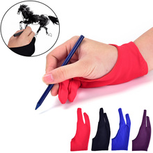 Black Artist Drawing Glove For Any Graphics Drawing Tablet 2 Finger Anti-fouling,both For Right And Left Hand Size M