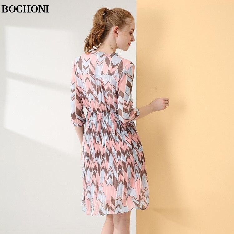 1319c21bbfce Bochoni Rose Mousseline 2018 Mi De En Mince Imprimé Robe Nouveau longueur  Soie PdwqxwO7U