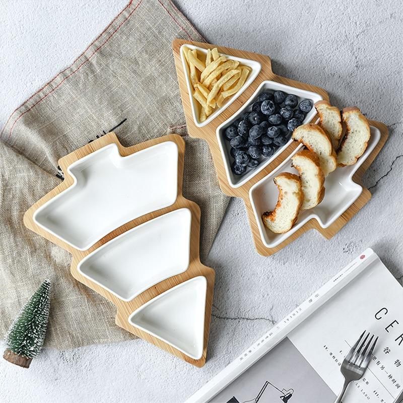 Buy Lovely Christmas Tree Serving Trays Creative Detachable Ceramic Snacks Dish
