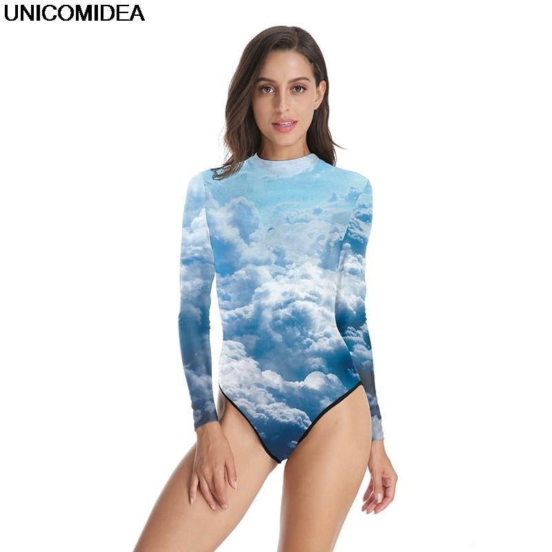 2019 3d Nube Sirena Bilancia Body E Tutine Le Donne Van Gogh Notte Stellata Di Un Pezzo Costumi Da Bagno Costumi Da Bagno Manica Lunga Skinny Costumi Da Bagno