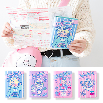 Bentoy Girls Passport Wallet  Cartoon Print Travel Accessories PU Clutch Travel Wallet Ladies Passport Cover Card Holders