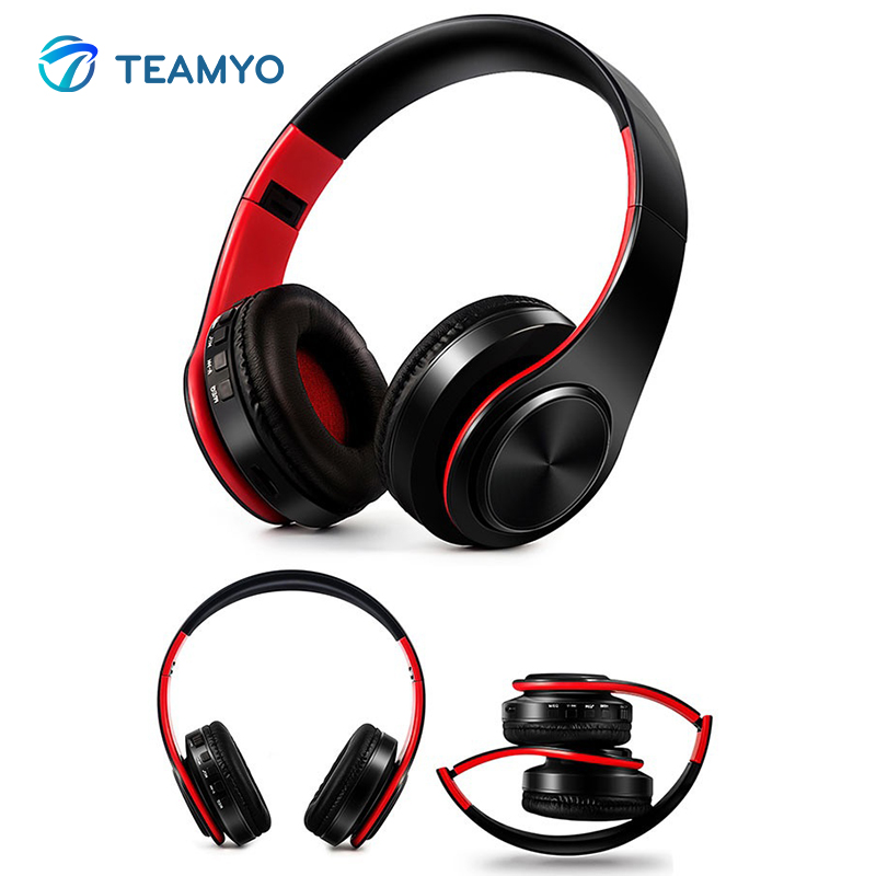 Teamyo Bluetooth Headphones Wireless Stereo Headset Foldable Bluetooth Handsfree Headphone Earphones Support SD Card With Mic aimitek sport wireless bluetooth headphones stereo earphones mp3 music player headset earpiece micro sd card slot handsfree mic
