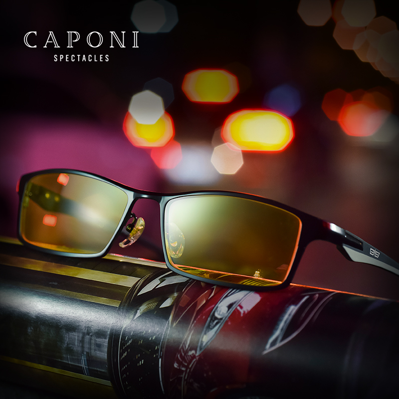 Caponi Mens Titanium Polarized Sunglasses Photochromic Sunglass For Day Night Driving UV400 BSYS9064