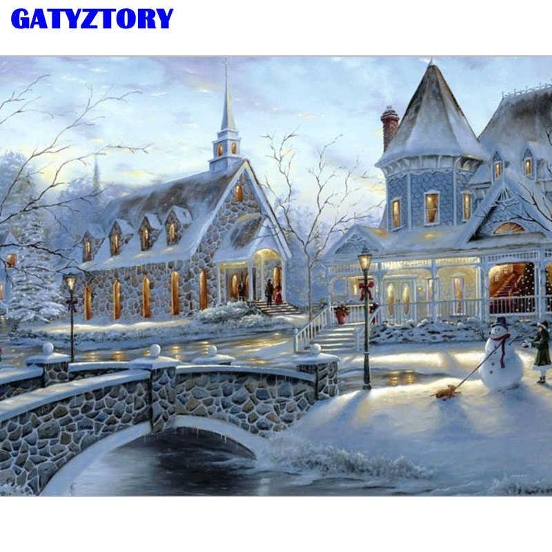 Rahmenlose Bild Schnee Landschaft DIY Malerei Durch Zahlen Acryl Kits Handgemalte Ölgemälde Moder Wand Art Home Dekore