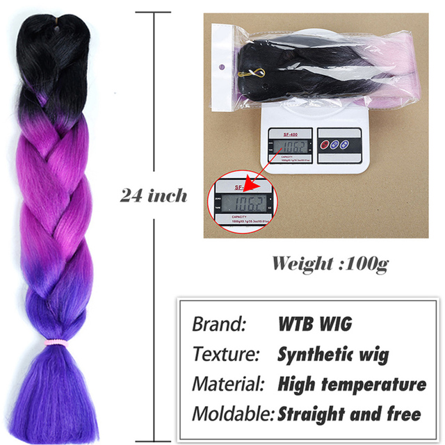 100g/pack 24inch Ombre Synthetic Kanekalon Braiding Hair For Crochet Braids False Hair Extensions African Ombre Jumbo Braids WTB 1