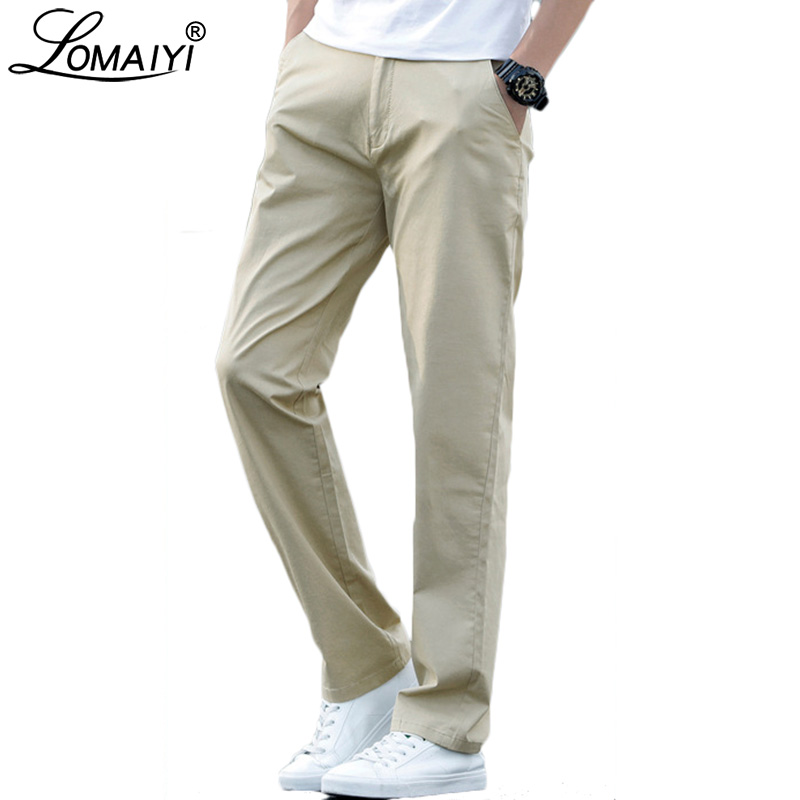 LOMAIYI Plus Size Men Pants Casual Spring/Summer Stretch Men's Classic Trousers Male 2019 Business Black/Khaki Pants Man BM221-in Casual Pants from Men's Clothing