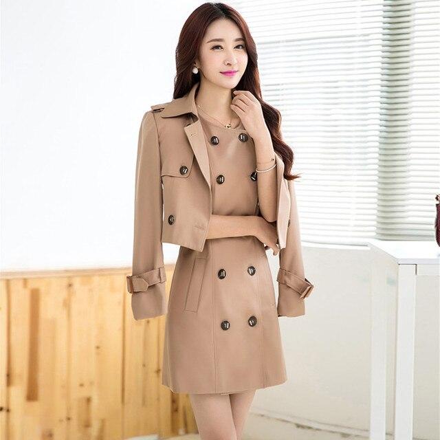 Плащ для женщин мода средней длины Двух частей черно-хаки траншеи пальто 3396 плюс размер M-4XL