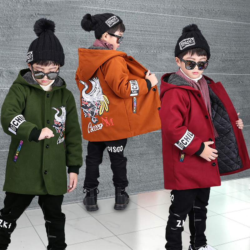New Boys Winter Coat Fashion Single Breasted Baby Boy Jacket Cotton Liner Kids Warm Coats Jacket Boys Children Outerwear CA418