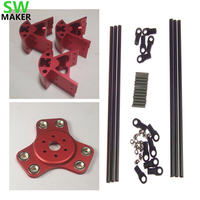 SWMAKER Red Color Delta Rostock Kossel k800 aluminum magnetic effector carriage+Corner kit+ 300MM Kossel Mini Rod Kit