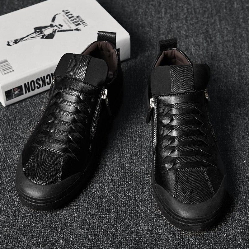 Marche Zip Noir De En black Black Pour Chaussures Mens Hiver Cuir Mode Mâle Casual Homme Automne Plat Hommes Fur Confortable A04qgxw