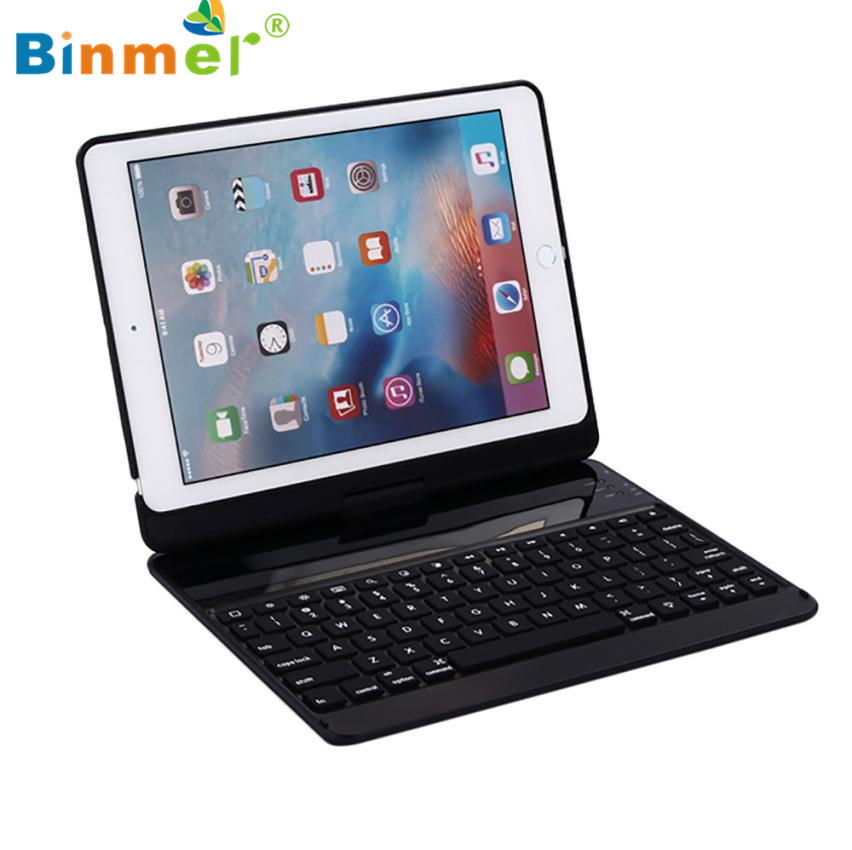 Binmer 2017 Aluminum 7 Colors Backlit Bluetooth Keyboard Smart Rotate Folio Case For New iPad/Pro9.7/Air/Air2 high quality Aug31 for new ipad pro keyboard case 7 colorful backlit aluminum [built in stand] bluetooth keyboard case for new ipad 10 5 inch