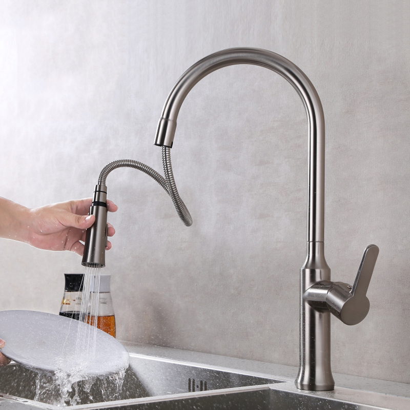 Brushed Kitchen Sink Faucet Single Handle Pull Down Put Out Spray Save Water Nickle Finishing Hot and Cold Mixer Tap with Chrome pull out kitchen faucet brass single holder put down hot and cold water mixer sink tap black