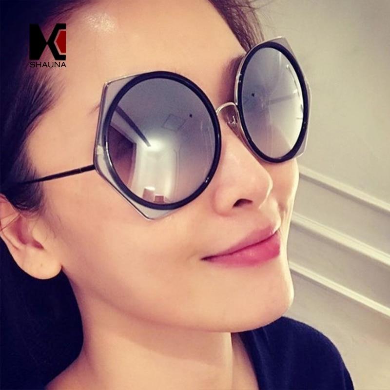 SHAUNA Oversize Women Round Sunglasses Popular Ladies Blue Mirror Coating Reflective Lens Glasses UV400