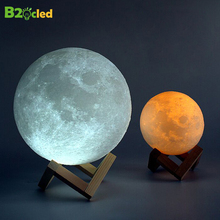3D Print Moon Light Lamp 16 Colors USB LED Night Colorful Rechargeable Battery Bedroom Bookcase Corridor Decor Creative