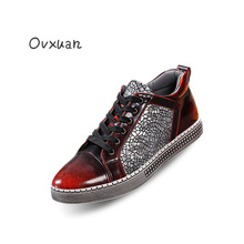 Ovxuan Luxury Brand Men Crakle Leather Dress Shoes Fashion Banquet Party Mens Casual Loafers Italian Designer Male Oxford Shoes