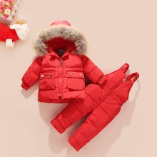 2018 Winter Children Girls Clothing Sets Warm hooded Duck Down Jacket Coats + Trousers Waterproof Snowsuit Kids Baby Clothes