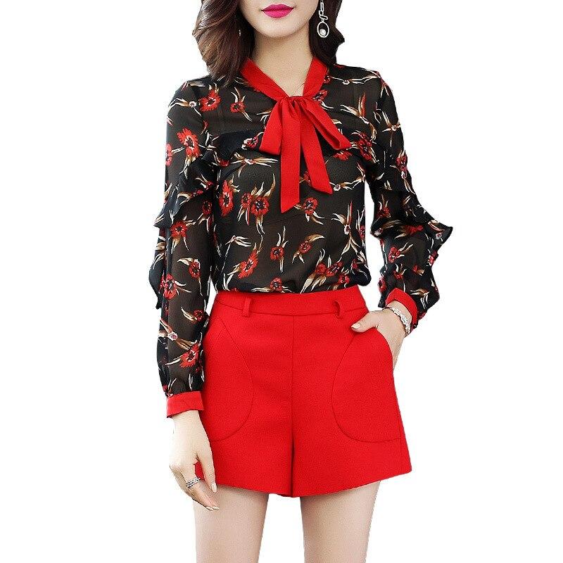 Européenne Imprimer Mujer Moda Printemps Été 2018 Femmes De Blouse Arc Dames Mode Soie En Col Blusa Chemise Feminina Mousseline Qualité Meilleur z81qSx