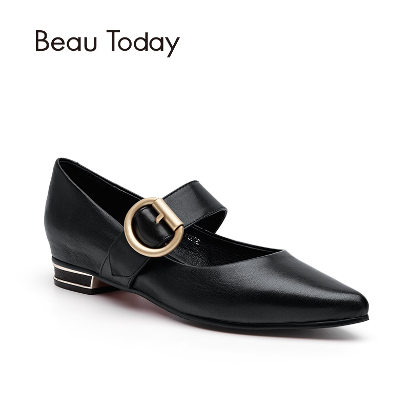 BeauToday Genuine Leather Mary Janes Pumps Women Spring Summer Red Bottom Sole Sheepskin Mid-Heel Pointed Toe Shoes 30031 brilliant genuine sheepskin leather flat heel single shoes 2016 spring summer square toe rhinestones black rose red ballet flats