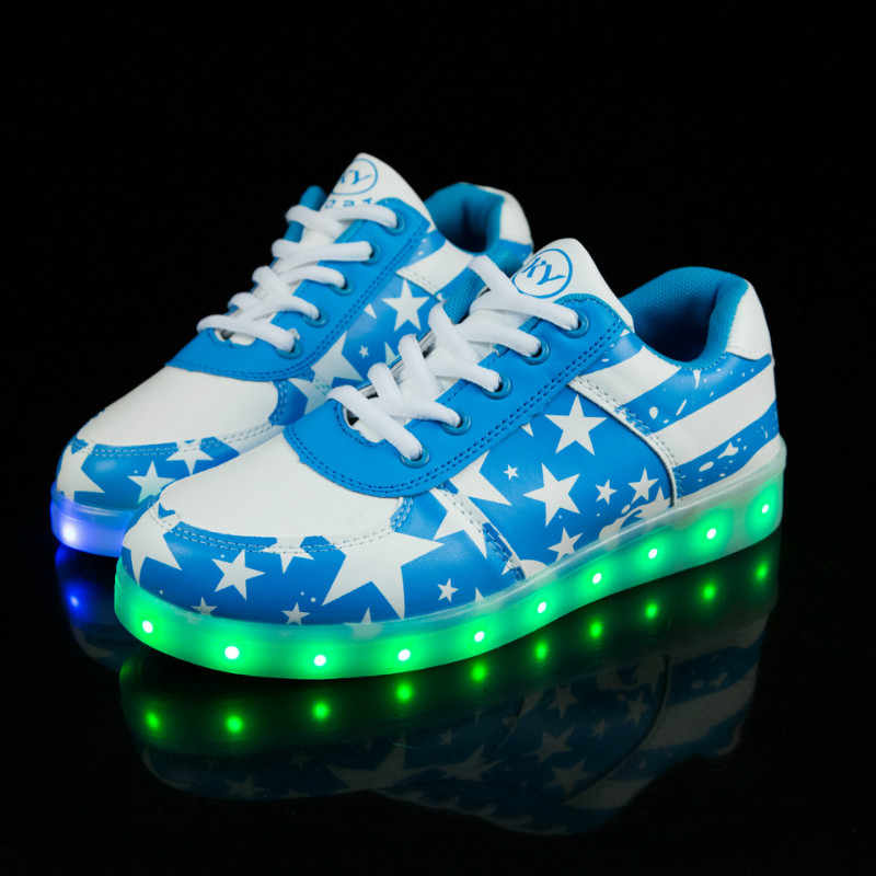 รองเท้าผ้าใบส่องสว่าง LED Light Up USB ชาร์จรองเท้าเด็กผู้ใหญ่เด็กผู้หญิง Tenis Led Feminino ผู้ชายผู้หญิงเรืองแสงรองเท้าผ้าใบ