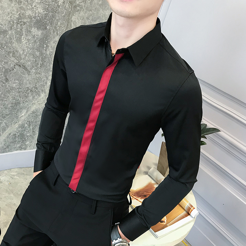 High Quality Men Shirt Brand New Slim Fit Casual Ribbon Patchwork Tuxedo Gentlemen Formal Wear Business Shirts Men's Clothing