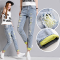 Woman Spring Summer Hole Jeans Female Harem Pants Hole Roll Up Harem Pants Loose Trousers Skinny Pants Beggar Distressed Jeans