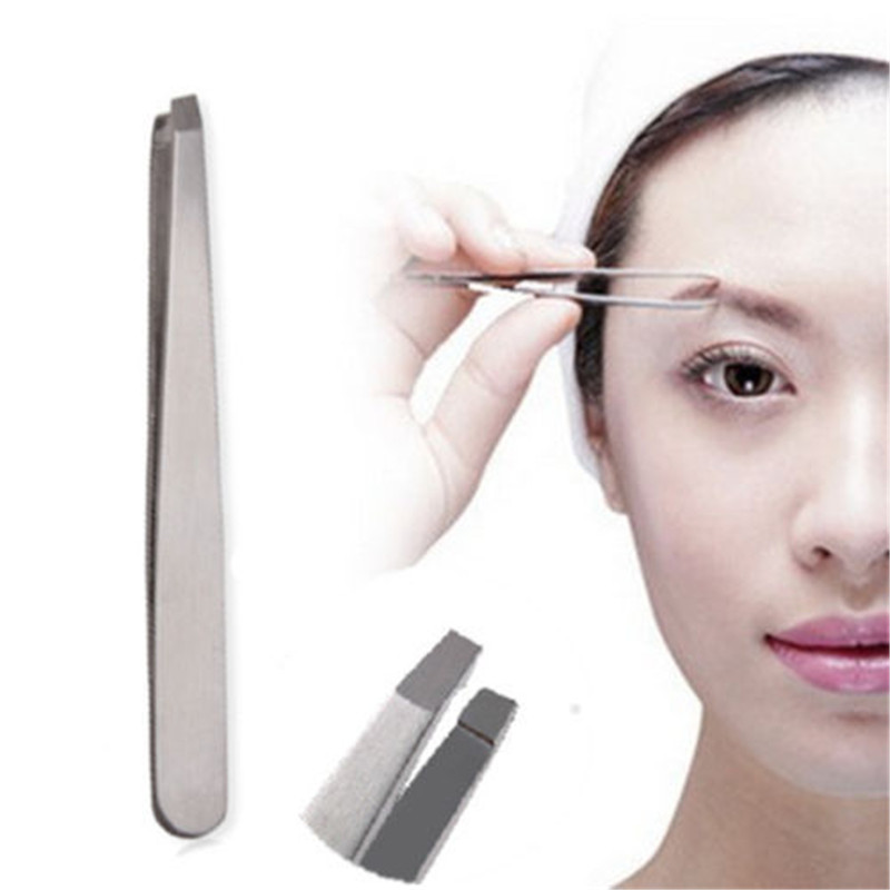 New Stainless Steel Slant Eyebrow Tweezers Face Hair Removal Clip Makeup Tool Women maquiagem