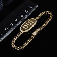 fashion women friendship bracelet alphabet letter logo OUI bracelet monaco zirconia bar tag logo chain bangle weave braid bangle