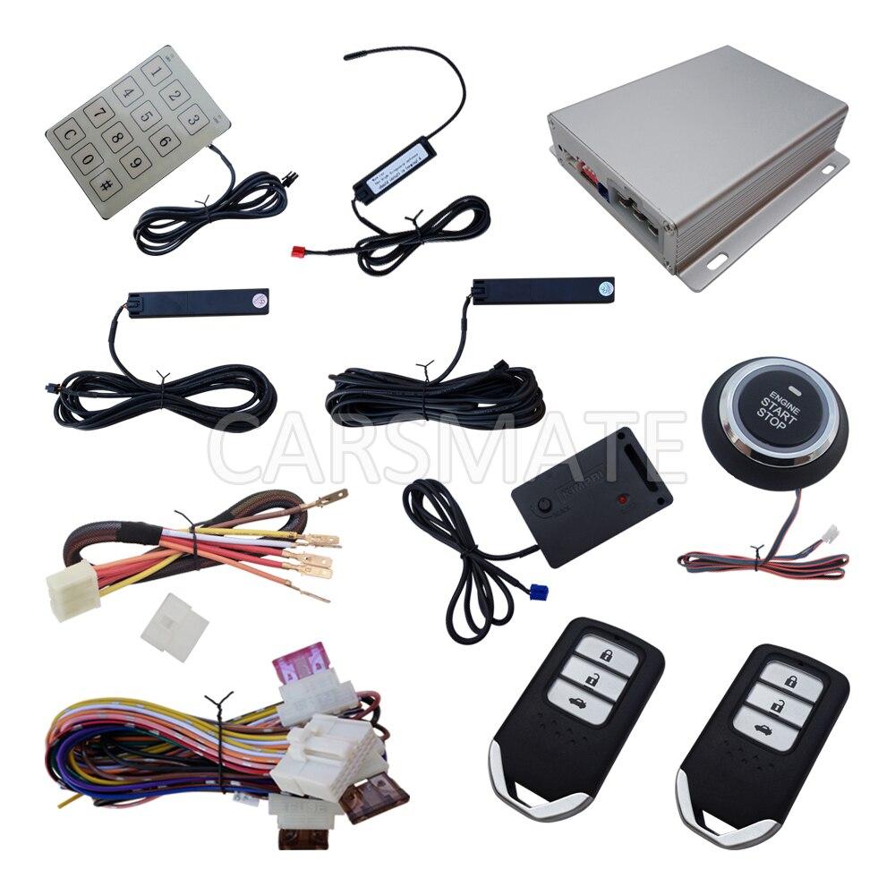 Smart PKE Автомобильная сигнализация с датчиком удара кнопка запуска и дистанционного запуска ввода пароля Автоматическая оконные рамы закрыт