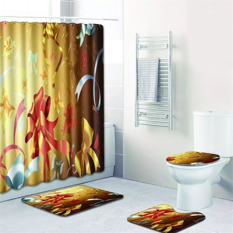 XYZLS Christmas Shower Curtain Set Polyester Waterproof Bath