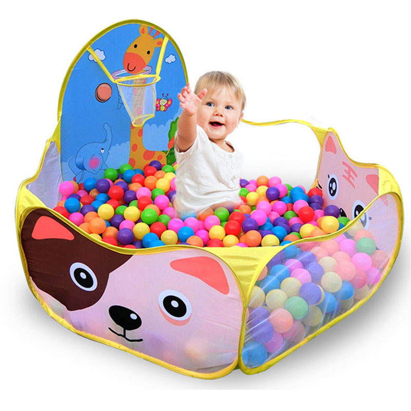 120*120cm Foldable Cute Kids Game Play Toys Tent Ocean Ball Pool With Basket Kids Outdoor House Play Hut Pool Balls Toys Pit children foldable outdoor indoor ocean ball pool with tunnel kids safe play game house balls toys tent chilren toys hut gift